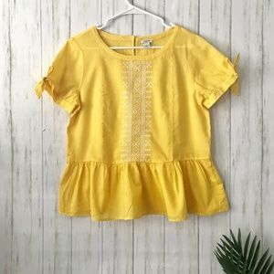 J. Crew | Factory Sunny Yellow Cross Stitch Top